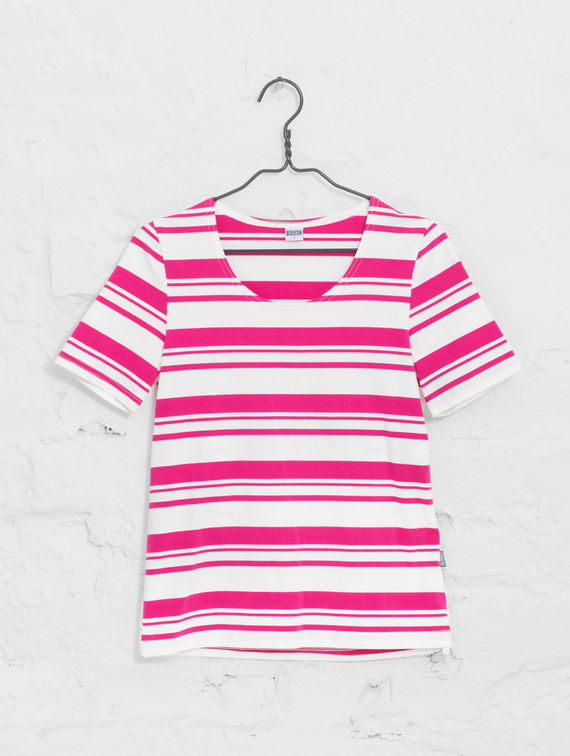 R-Collection      Women´s Striped T white/raspberry sorbet stripe