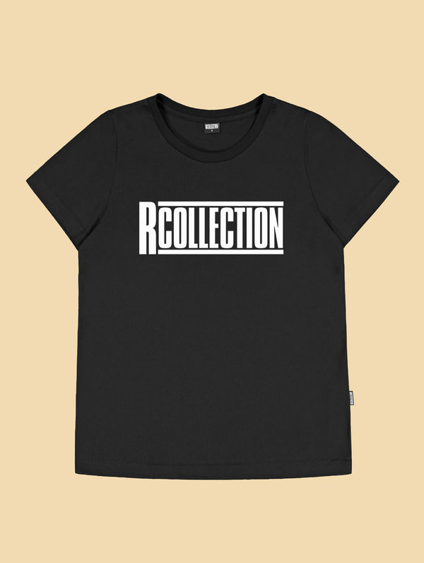 "Frauen-T-Shirt schwarz  / ""R-Collection"" Logo weiß"