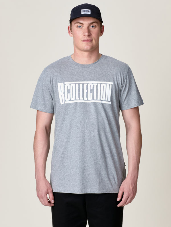 "T-Shirt ""Perfect"" hellgrau meliert / ""R-Collection"" Logo weiß"