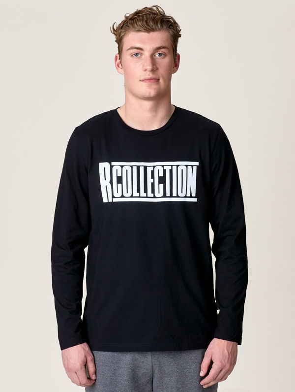 "Langärmliges T-Shirt schwarz / ""R-Collection"" Logo weiß"