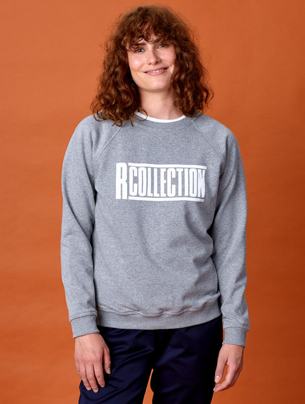 "Frauen-Sweatshirt hellgrau meliert  / ""R-Collection"" Logo weiß"