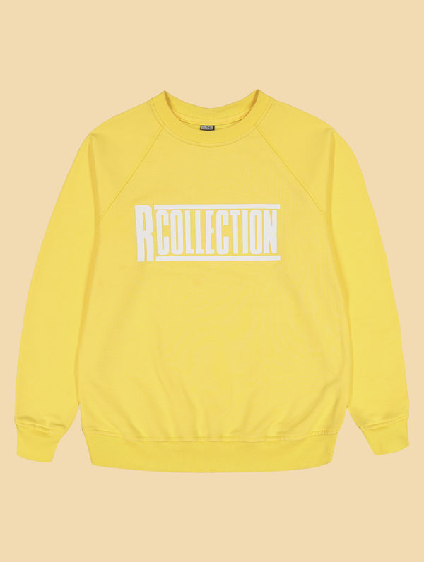 "Frauen-Sweatshirt hellgelb  / ""R-Collection"" Logo weiß"